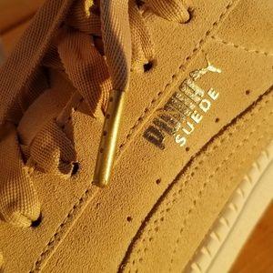 Beige Suede Puma Platform Sneakers
